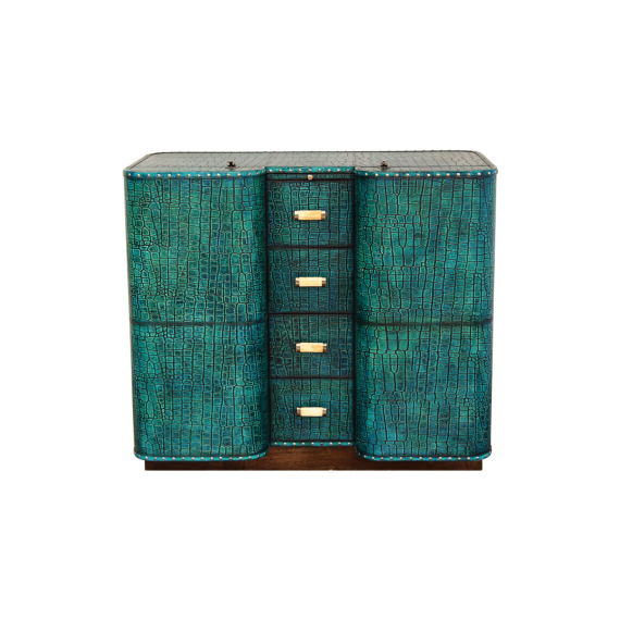 Captain's Cabin Bar - Antique Turquoise Leather